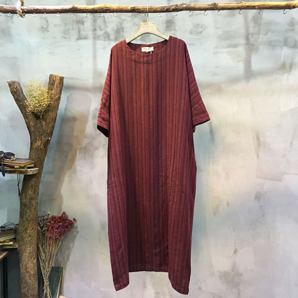 Loose Casual Round Neck Red Dress