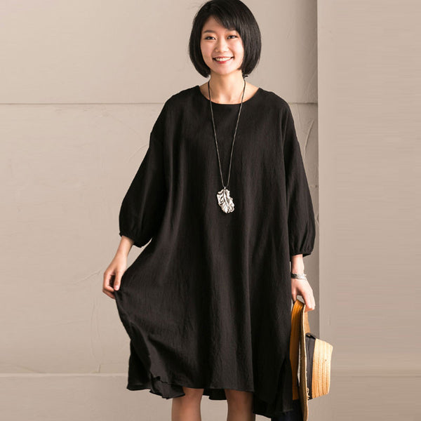 Linen Round Neck Fold Bat Sleeves Black Dress