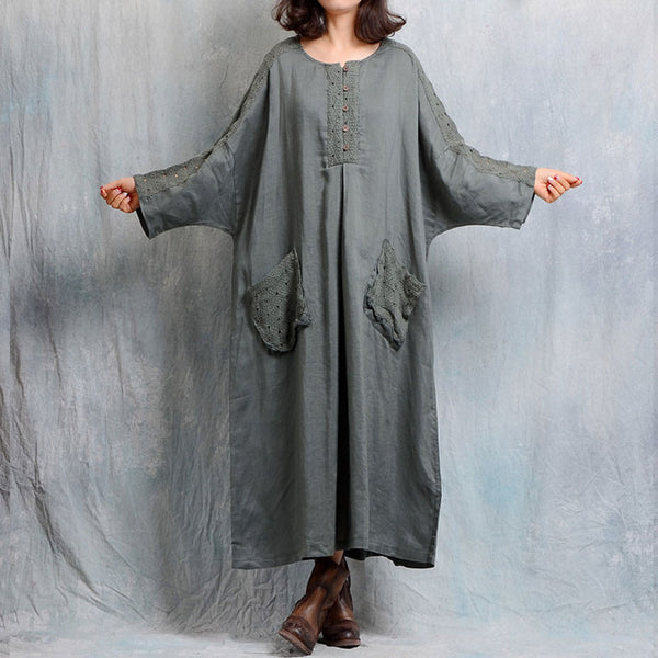 Spring Women Pocket Loose Linen Green Gown