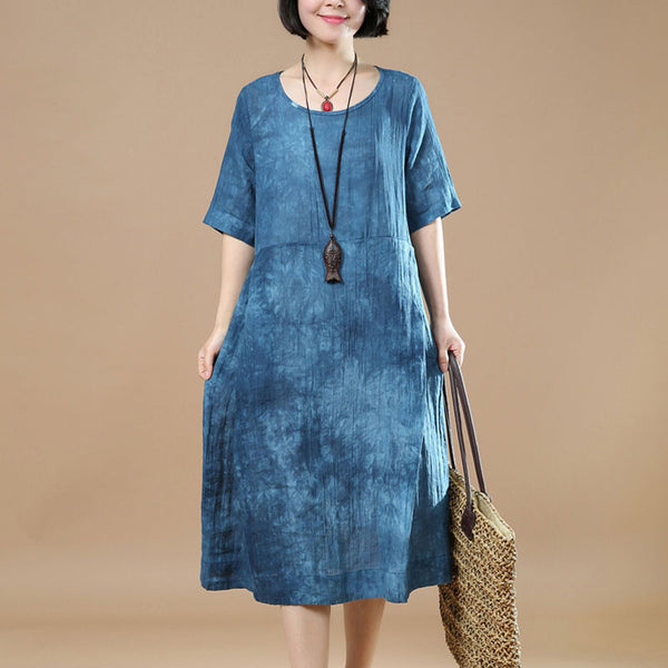 Linen Women Loose Printing Short Sleeves Retro Blue Dress - Buykud