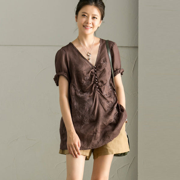 Retro Embroidery V Neck Chic Buttons Short Sleeves Women Coffee Shirt - Buykud