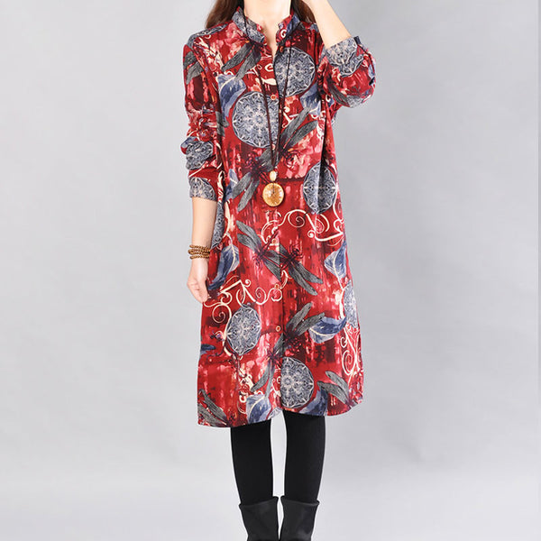 Printing Cotton Women Red Long Shirt