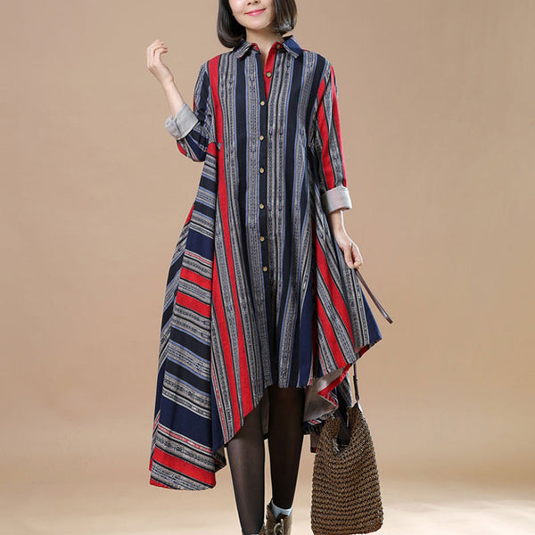 Spring Irregular Red Long Shirt Dress