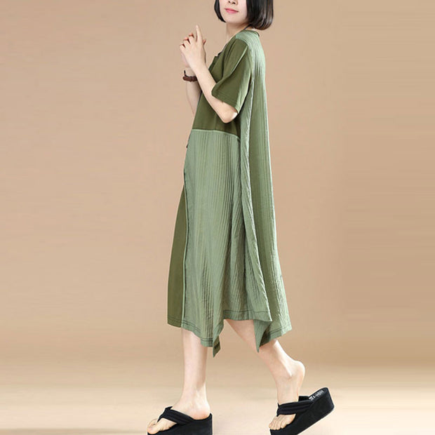 Cotton Women Loose Summer Short Sleeves Splicing Army Green Dress - Buykud