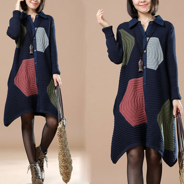 Long Sleeve Cardigan Dark Blue Sweater