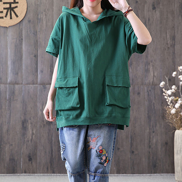 Casual Hooded Short Sleeve Pullover Cotton Green Tops