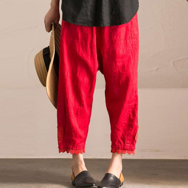 Splicing HollowLoose Casual Linen Cotton Harem Red Pants - Buykud