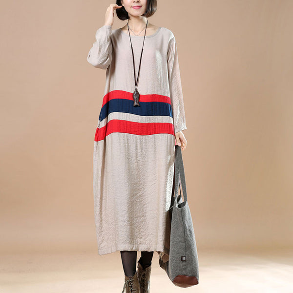 Splicing Comfortable Large Size Casual Spring Khaki Dress
