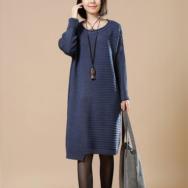 Dark Blue Striped Casual Sweater