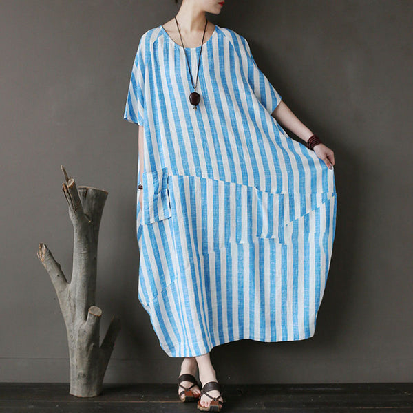 Retro Loose Round Neck Short Sleeve Blue Stripe Dress - Buykud