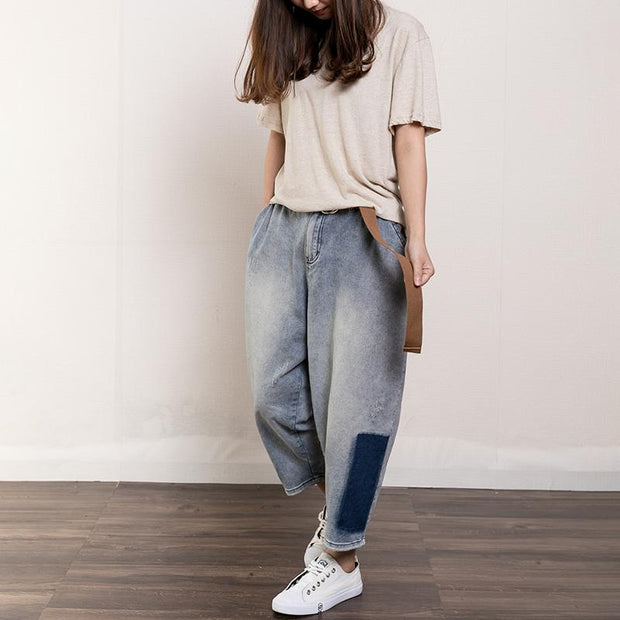 Contrast Color Frayed Casual Harem Pants