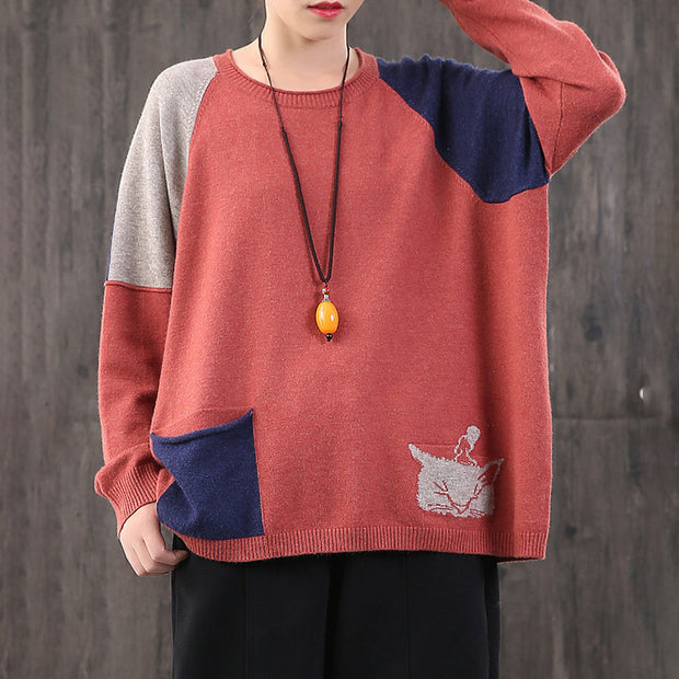 Buykud Cat Head Pattern Color Matching Loose Sweater