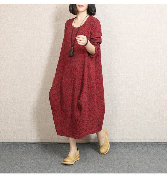 Cotton Linen Loose Spring Fall Floral Long Sleeve Dress - Buykud
