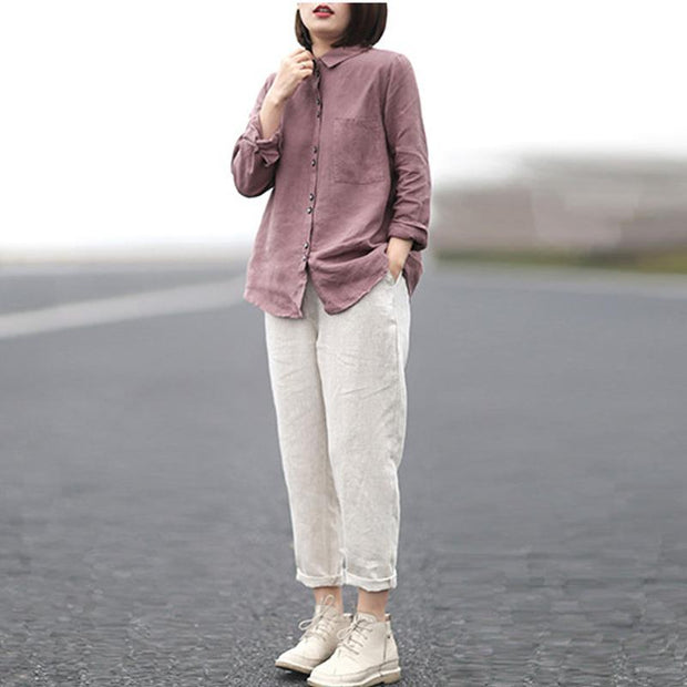 Casual Loose Turn-down Collar Solid Shirt