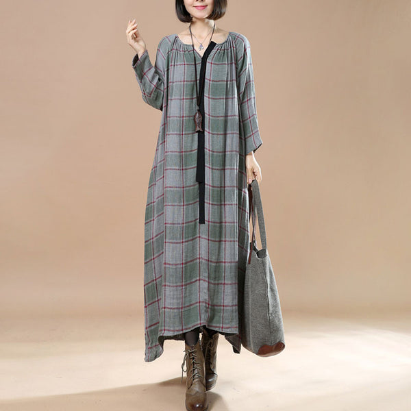 Spring Cotton And Linen Large Size Lattice Gray Green Long Dress