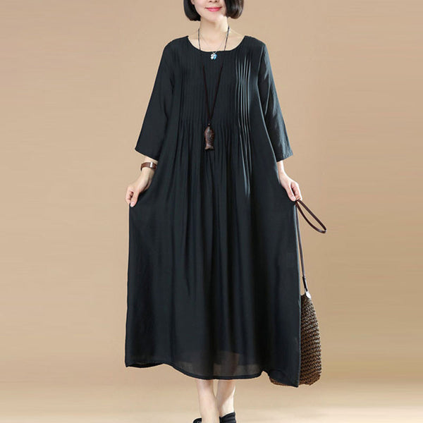 Women Loose Casual Cotton Black Dress