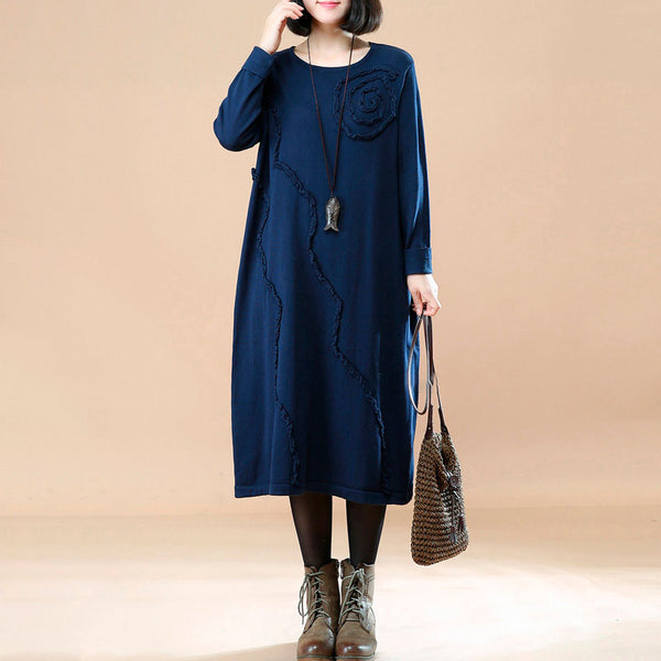 Autumn Round Neck Loose Navy Blue Knitted Dress For Women - Buykud