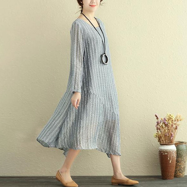 Round Neck Long Sleeve Irregular Lining Gray Women Dress - Buykud