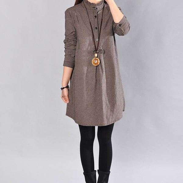 Women Spring Lattice Cotton Gray Dress
