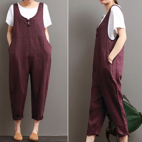Loose Cotton Linen Women Casual Pocket Red Strap Pants