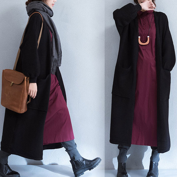 Spring Stripe Puff Sleeves Pocket Black Long Coat - Buykud