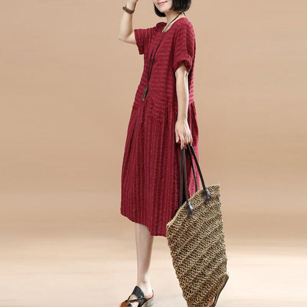 Women Literature Casual Stripe Cotton Short Sleeve Red Dress