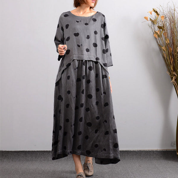 Women's Autumn Casual Embroidered Linen Gray Dress - Buykud
