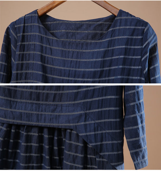 Blue Women cotton loose long sleeve