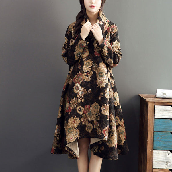 Black Printed Loose Cotton Dress
