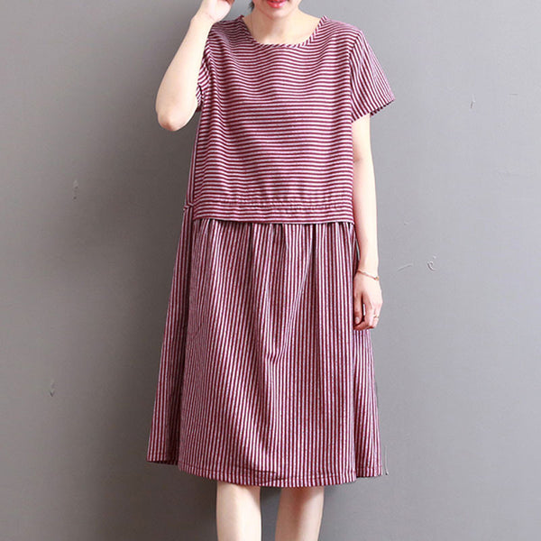 Summer Stripe Women Loose Splicing Casual Red Dress - Buykud