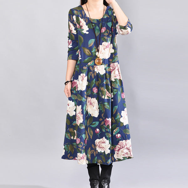 Autumn Fashion Casual Loose Floral Cotton Long Sleeves Navy Blue Dress