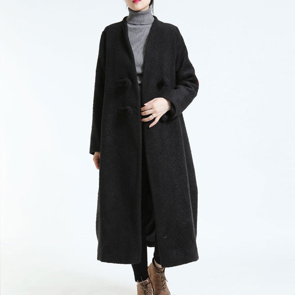 Winter Women's Loose Woolen Long Sleeves Black Overcoat