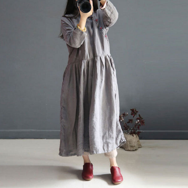 Retro Frog Loose Linen Women Dark Gray Dress