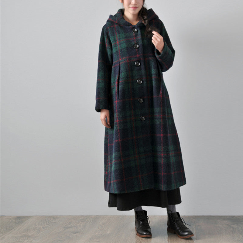 Green Hooded woolen winter coat