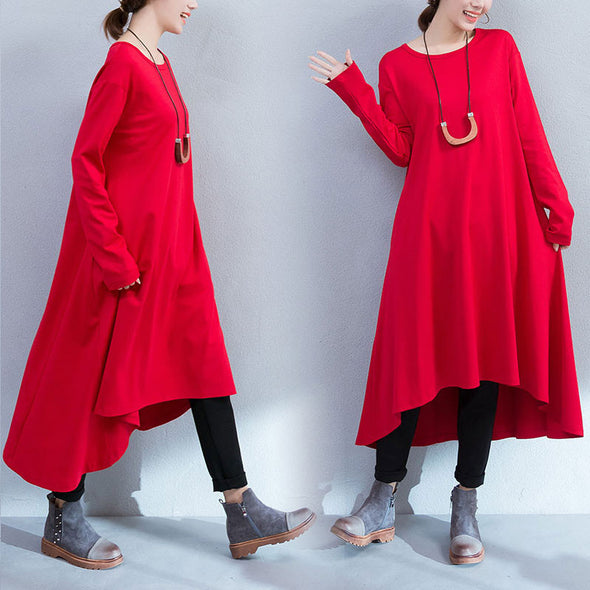 Red Pockets Loose Dress - Buykud