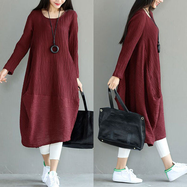 Casual Women Linen Loose Irregular Red Dress