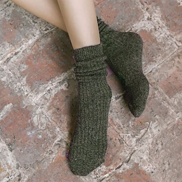 Women Cotton Casual Thick Warm Knitted Socks - Buykud