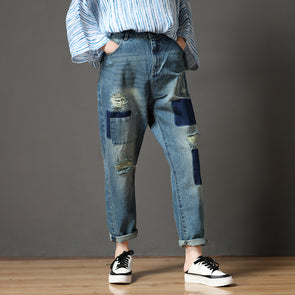 Cotton Blue Casual Summer Women Hole Jeans Pants
