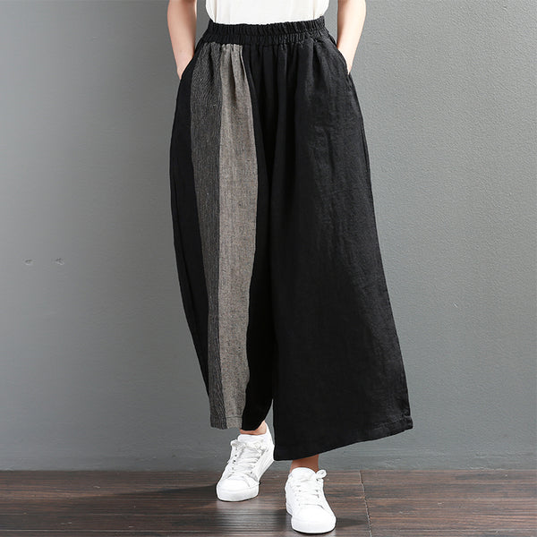 Women Spring Casual Solid Ankle Length Wide Leg Pants