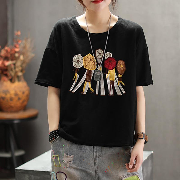 Cotton New Fashion Vintage Half Sleeve Shirt