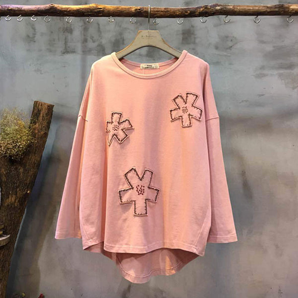 Casual Loose Applique Pink Shirt