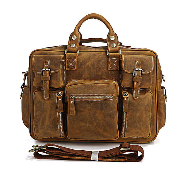 Casual  Pull-up Leather Men Brown Yellow Hand Bag