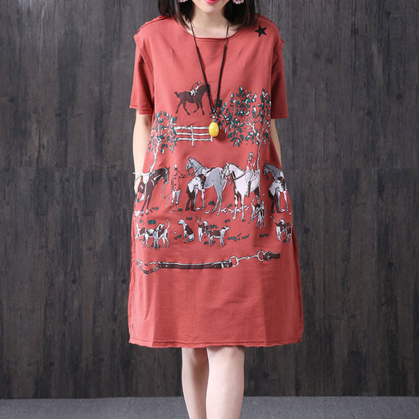 Loose Printing Women Casual Pocket Summer Red Dress
