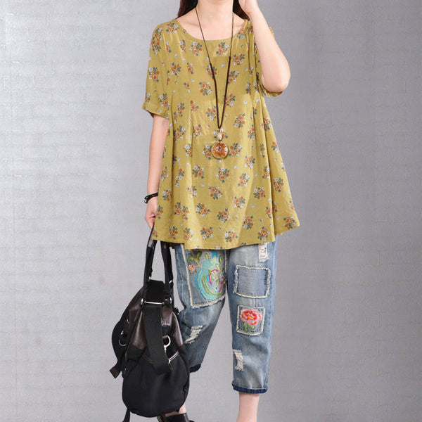 Stylish Floral Printing Short Sleeve Loose Women Yellow Dress