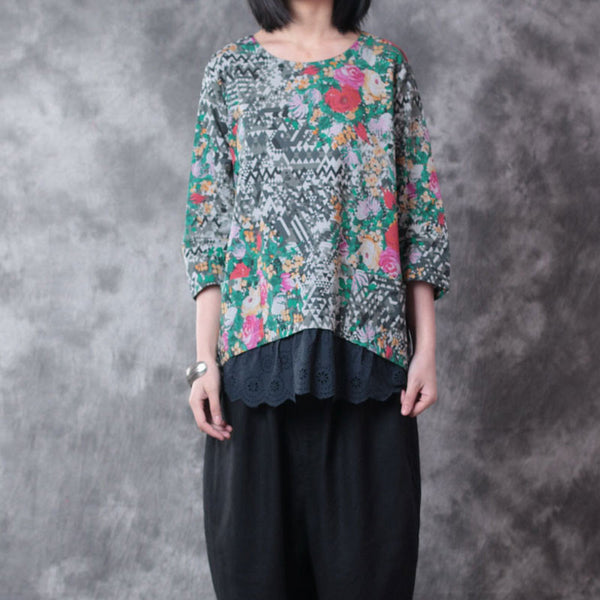 Floral Women Loose Splicing Casual Linen Blue Shirt