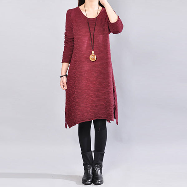 Round Neck Autumn Women Knitted Red Dress - Buykud