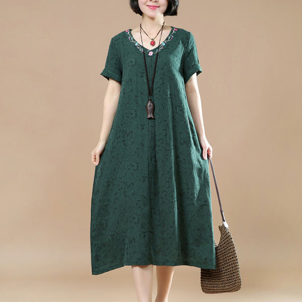 Ethnic Summer Jacquard Short Sleeves Green Dress - Buykud