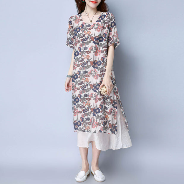 Loose Casual Printing Women Beige Dress - Buykud