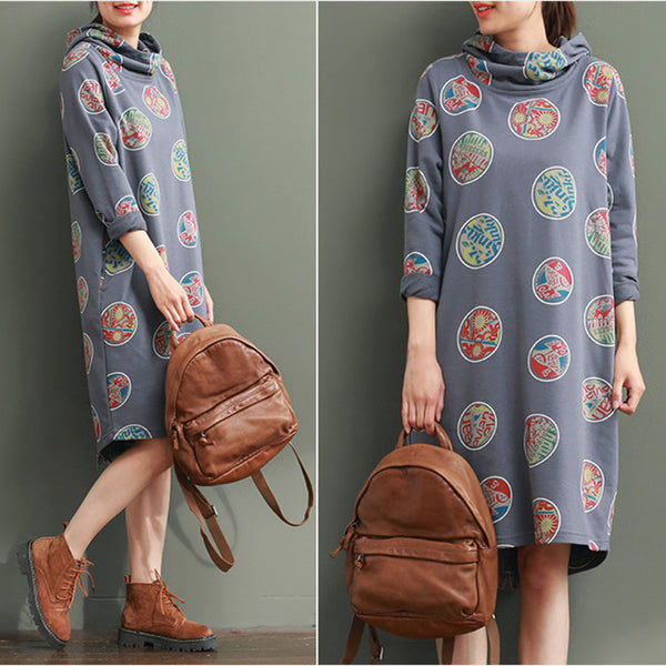Women Casual Loose Cotton Spring and Autumn Long Sleeve Dress