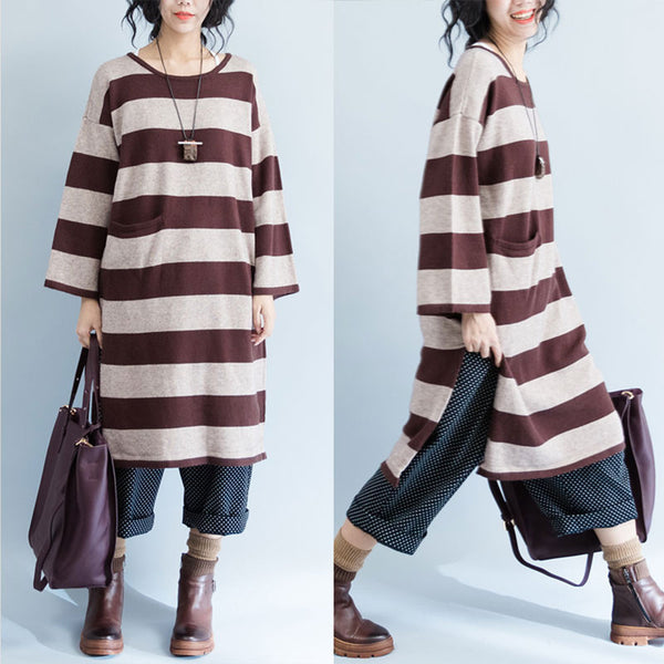 Brown Striped Pocket Sweater